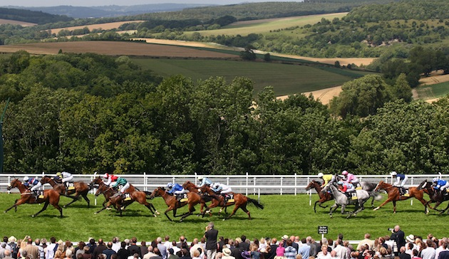 Goodwood racecourse is set among beautiful English countryside with a backdrop of rolling green hills. (Photo by Julian Herbert/Getty Images)