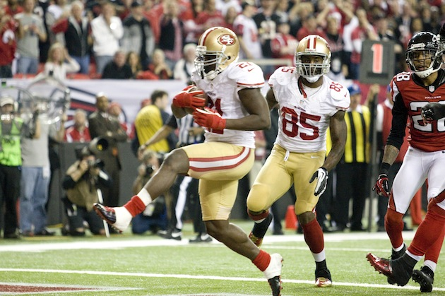 Frank Gore and the San Francisco 49ers will play against the Ravens in the Super Bowl. British fans will watch the game at 11:30 p.m. their time. (Photo by Michael Zagaris/San Francisco 49ers/Getty Images)