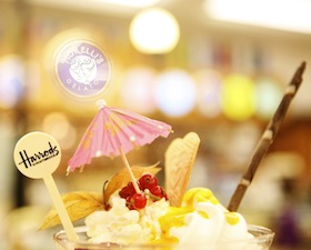 A glorious ice cream sundae is among the offerings at Harrods. For London's high-end department stores, the shopping experience is as important as the merchandise. (Photo by Juliet White/Visit Britain)