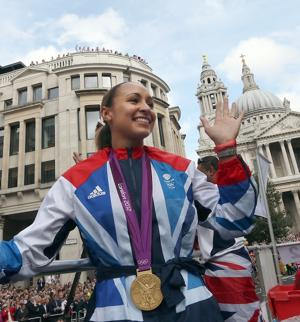 Ebullient gold medalist Jessica Ennis, shown at the London 2012 Victory Parade for Team GB and Paralympic GB athletes, is a fan favourite. (Photo by Dan Kitwood, WPA Pool/Getty Images)