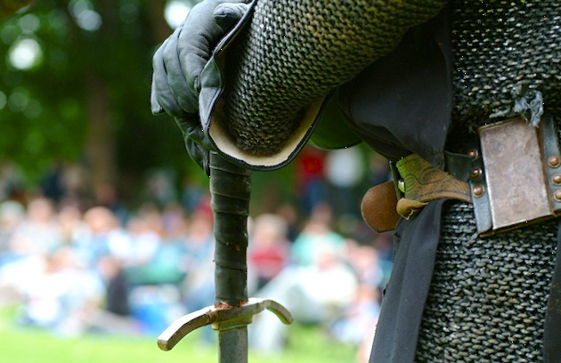 A man dressed as a medieval knight is ready for battle at the jousting event held at Rockingham Castle, Leicestershire, England. (Photo by Grant Pritchard/Visit Britain)