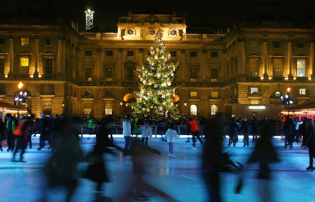 Somerset House's ice rink provides a unique chance to enjoy ice skating in one of the most grand settings in London. (Photo by Ryan Pierse/Getty Images)
