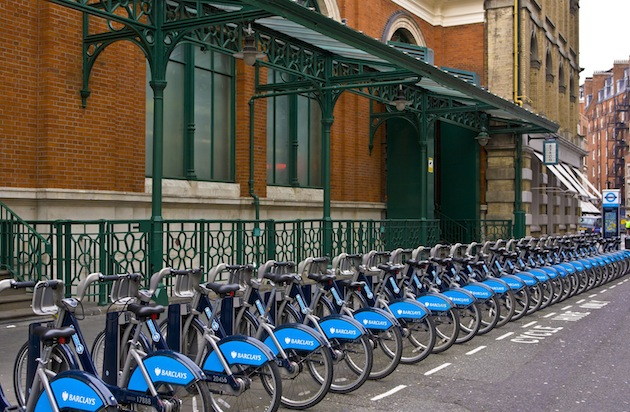A row of rental bicycles near Covent Garden in London, England. (Photo by George Rose/Getty Images)