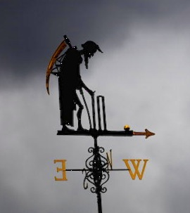 The Old Father Time weather vane overlooks Lord's cricket ground. (Photo by Mike Hewitt/Getty Images)