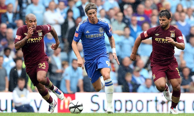 Fernando Torres of Chelsea moves away from Nigel de Jong (L) and Sergio Aguero during the FA Community Shield match between Manchester City and Chelsea on August 12 in Birmingham, England. (Photo by David Rogers/Getty Images)