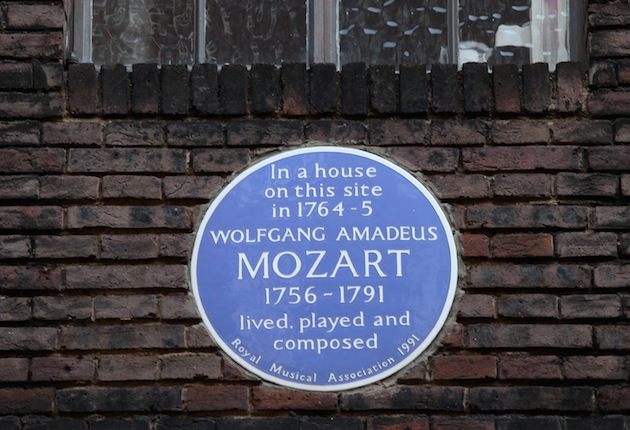 A blue plaque indicates a house where Wolfgang Amadeus Mozart used to live in the Soho area, Westminster, London. (Photo by Oli Scarff/Getty Images)