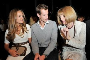 Kim Sears, Andy Murray and Anna Wintour discussed fashion at the Burberry Spring Summer 2013 Womenswear Show Front Row in London in September. (Photo by Dave M. Benett/Getty Images for Burberry)