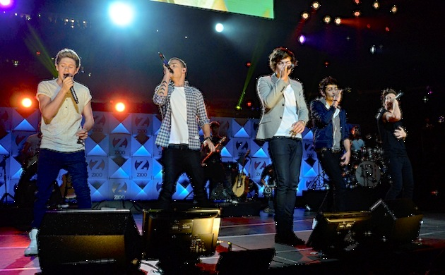 Niall Horan, Liam Payne, Harry Styles, Zayn Malik, and Louis Tomlinson of One Direction performed at the Jingle Ball in New York in 2012. (Photo by Brian Killian/WireImage)
