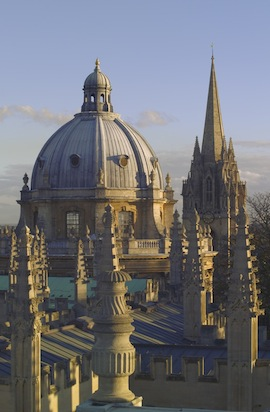 The view over Oxford spires from the Sheldonian Theatre. (Photo by Pawel Libera/Visit Britain)