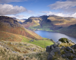 Scafell Pike and Wastwater lake are visible in this view over the Lake District. (Photo by Joe Cornish/Visit Britain)
