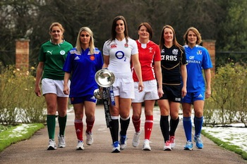 The tournament isn't just for the men's teams: Fiona Coughlan of Ireland, Marie Alice Yahe of France, Sarah Hunter of England, Rachel Taylor of Wales Susie Brown of Scotland and Silvia Gaudino of Italy pose with the Women's Six Nations trophy. (Photo by Richard Heathcote/Getty Images for RBS)