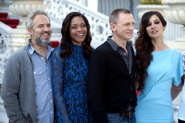 "Director Sam Mendes, Naomie Harris, Daniel Craig and Berenice Marlohe mark the filming of the 23rd Bond Film ""Skyfall."" (Photo by Burak Kara/Getty Images)"