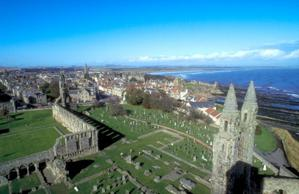 The ruins of St. Andrews Cathedral dominate the town of St. Andrews, Scotland and the coastline. (Photo: Britain on View/Visit Britain)