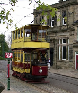 A restored tram passes period buildings at Crich Tramway Village, one of the attractions in 'Sightseers.' (Photo by Keith Edkins via Wikimedia Commons)