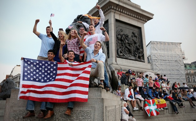American fans celebrate the opening of the London 2012 Olympic Games at Trafalgar Square in London. (Photo by Feng Li/Getty Images)