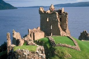 Urquhart castle ruins sit on the banks of Loch Ness in Scotland. (Photo by Britain on View/Visit Britain)