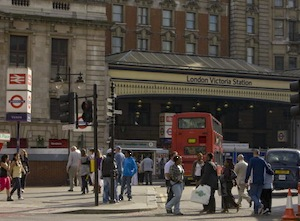 Tourists head for Victoria Railway Station as seen in this 2009 London, United Kingdom, cityscape taken near Westminster Cathedral. (Photo by George Rose/Getty Images)