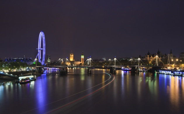 The view from Waterloo Bridge takes in some of London's most famous sights, including the London Eye, another good viewpoint. (Photo by Britain on View/Visit Britain)