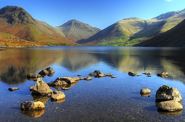Wastwater, England's biggest lake, is home to an underwater gnome garden planted by scuba divers. (Photo by Andy Stephenson via Wikimedia Commons)
