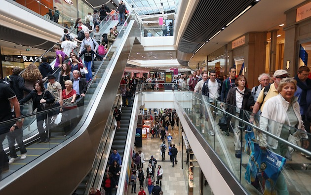 Shoppers flocked to the new Westfield Stratford mall, now the biggest urban shopping center in Europe. (Photo by Oli Scarff/Getty Images)