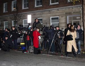 The media gathered outside King Edward VII Hospital in London where Catherine, Duchess of Cambridge, was admitted for severe morning sickness. Their Royal Highnesses The Duke and Duchess of Cambridge are expecting a baby. (Photo by Neil Mockford/FilmMagic)