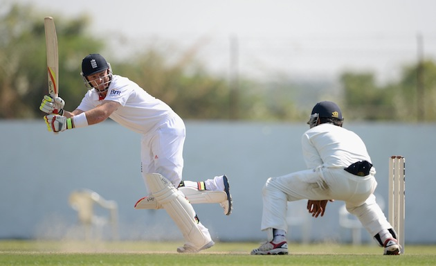 Ian Bell of England bats during a tour match between England and Haryana earlier this month in India. The wicket is visible to the right. (Photo by Gareth Copley/Getty Images)