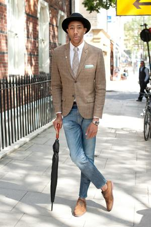 This stylish London chap was photographed on the sidewalk during during the Spring/Summer 2013 catwalk shows at London Collections: Men. (Photo by Kirstin Sinclair/Getty Images)