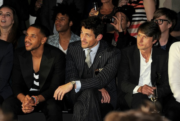 Actor Reggie Yates, model David Gandy and musician Brett Anderson showed their sense of sartorial style at the Spencer Hart Spring/Summer 2013 catwalk show during London Collections: Men in June. (Photo by Dave M. Benett/Getty Images)