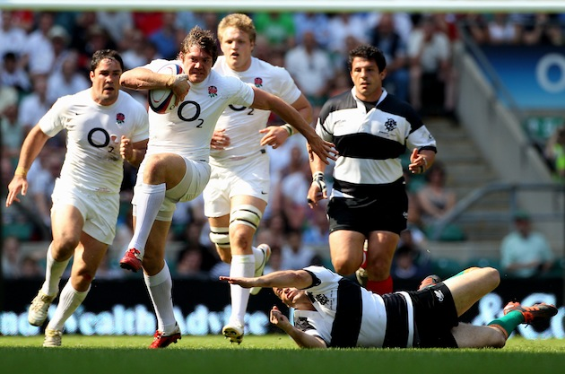 Alex Goode of England evades Felipe Contepomi of The Barbarians during the Killik Cup match between England and The Barbarians at Twickenham Stadium in May. England faces a series of Southern Hemisphere teams there this autumn. (Photo by David Rogers/Getty Images)