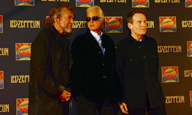 "Led Zeppelin founders (L-R) Robert Plant, Jimmy Page and John Paul Jones attended the UK Premiere of ""Led Zeppelin: Celebration Day"" in London earlier this week. (Photo by Dave J Hogan/Getty Images)"