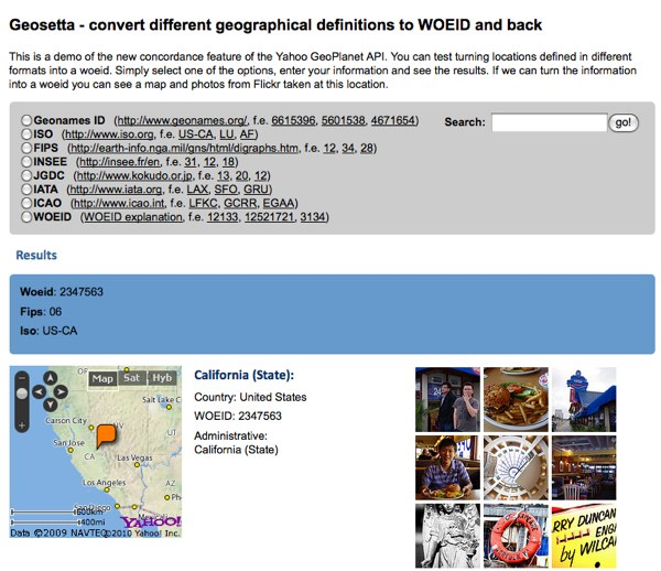 Translating between geo service identifiers with geosetta