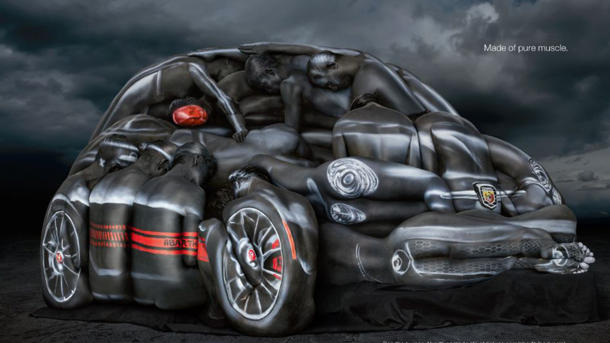 Fiat paints a platoon of bodies into a 500 Abarth Cabrio