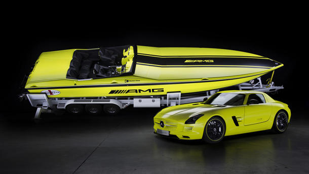 Mercedes' AMG helps build a 2,200-hp electric Cigarette boat