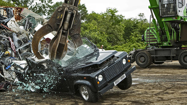 Feds crush a Land Rover Defender to scare illegal importers