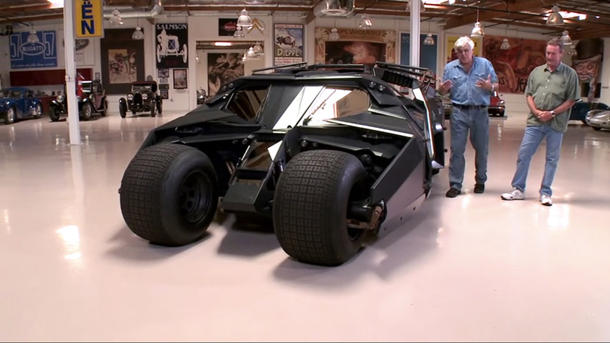 Jay Leno drives Batman's Tumbler through the mean streets of Burbank