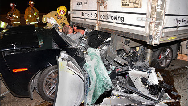 Lucky Corvette driver survives trailer crash that experts call too common