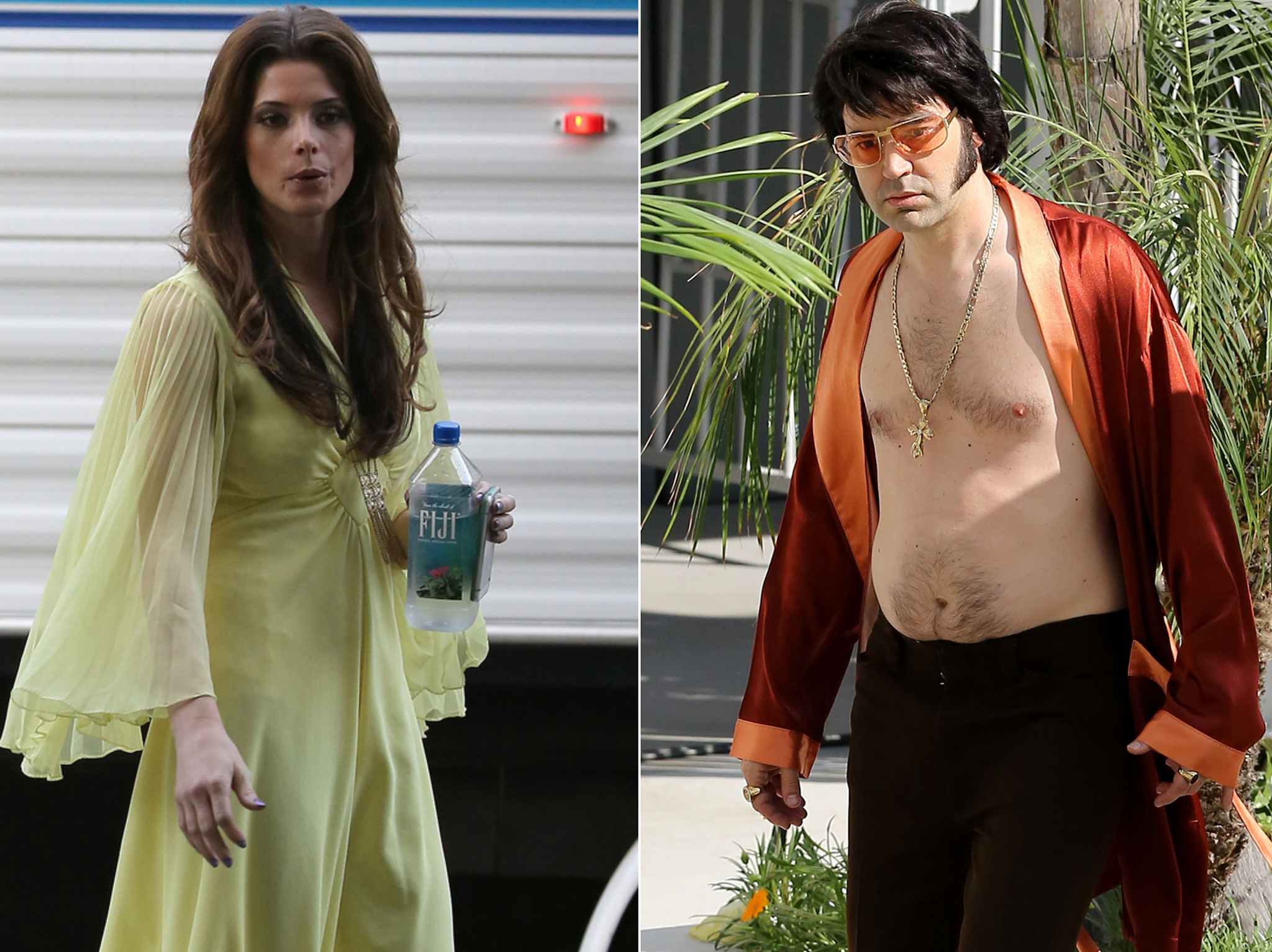 Ashley Greene and Ron Livingston as Priscilla and Elvis Presley on the set of 'The Shangri-La Suite' (Pacific Coast News)