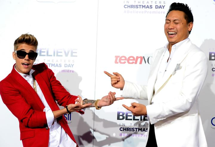 "Justin Bieber and director Jon M Chu attend the Los Angeles premiere of ""Believe"""