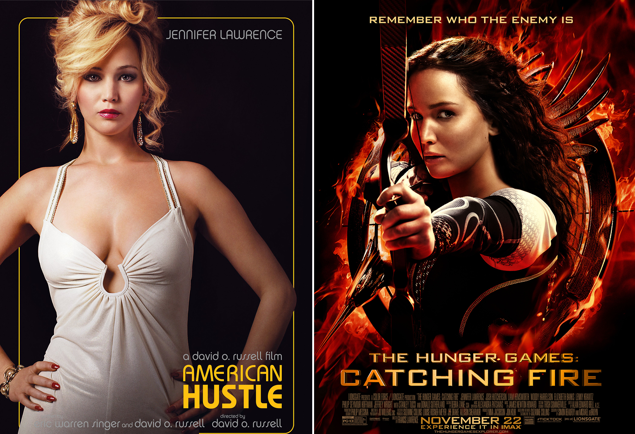 Jennifer Lawrence in (Annapurna Productions's 'American Hustle' & Lionsgate's 'Catching Fire.'