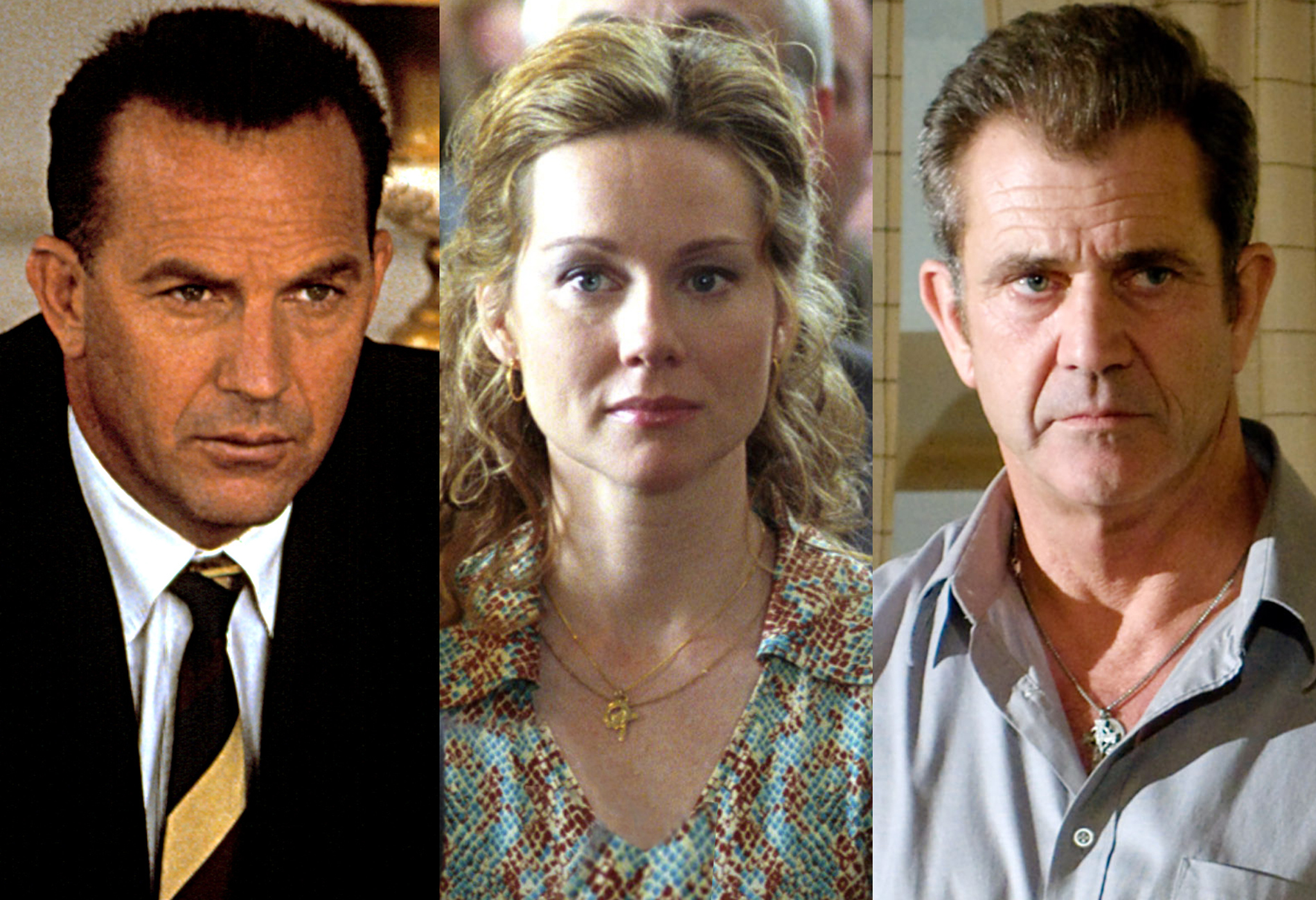 Kevin Costner in 'Thirteen Days', Laura Linney in 'Mystic River', Mel Gibson in 'Edge of Darkness' (Photo: Everett)