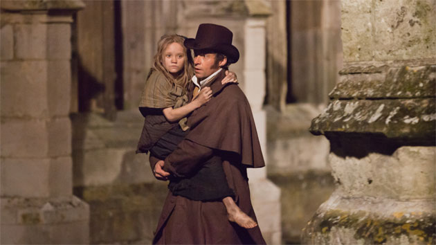 Isabella Allen and Hugh Jackman in Les Miserables (Photo: Universal Pictures)
