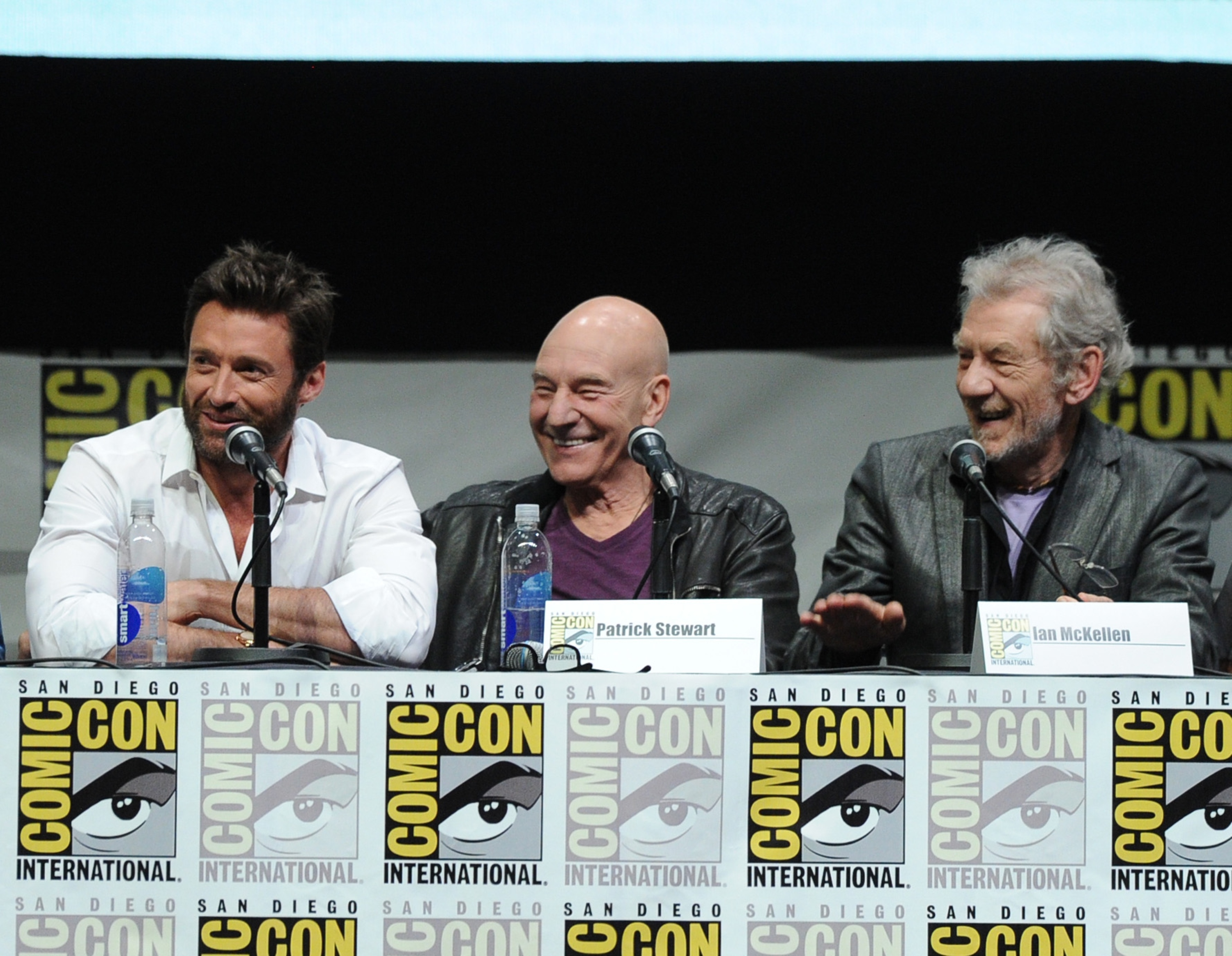 Hugh Jackman, Patrick Stewart & Ian McKellen at 2013 Comic-Con. Photo by Getty Images.
