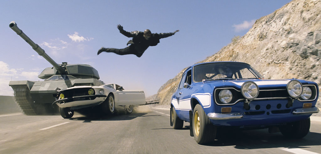 Will Tyrese survive this 'Fast & Furious 6' leap? All Ludacris cares about is his deodorant. (Universal)