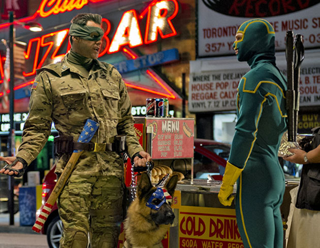 Jim Carrey and Aaron Taylor-Johnson in Universal Pictures' 'Kick-Ass 2'.
