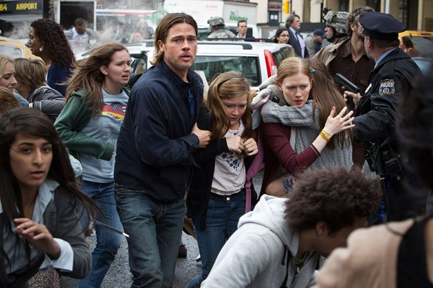 Brad Pitt and Mireille Enos in Paramount Pictures' 'World War Z'