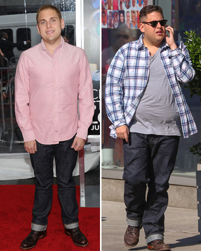 Hill at the height of his weight loss, left, and Hill now. (Photo: Getty Images/ SplashNews)