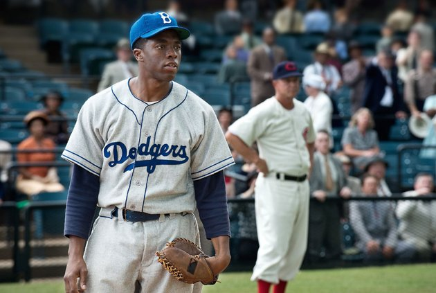 Chadwick Boseman as Jackie Robinson in Warner Bros. Pictures' '42'