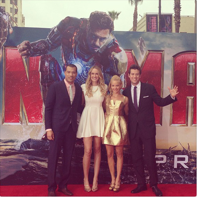 Our illustrious Yahoo! red carpet talent at Wednesday night's 'Iron Man 3' premiere (Photo: Yahoo! Movies)