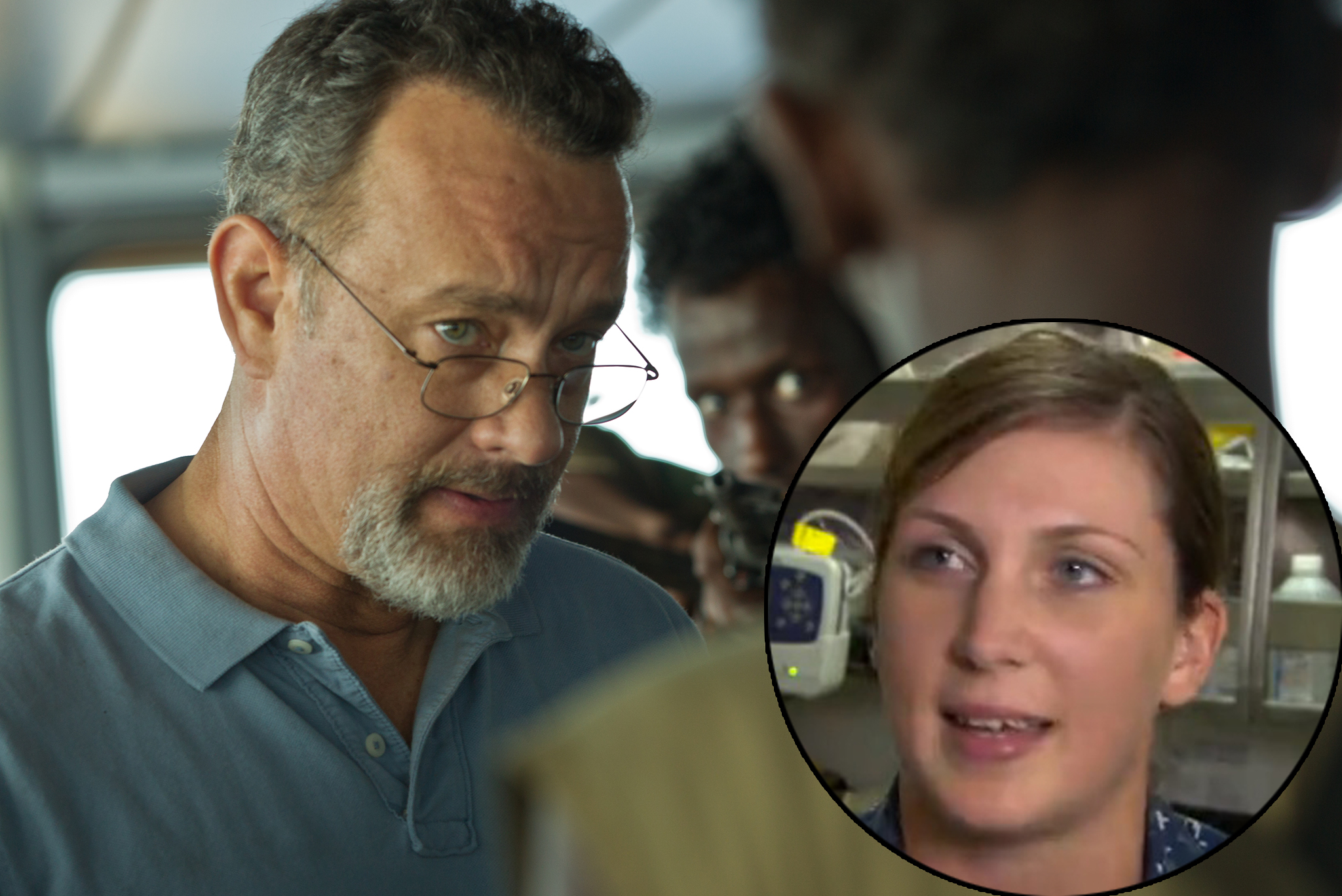 Tom Hanks and Navy Hospital Corpsman Danielle Albert. Photos courtesy of Columbia Pictures and CBS This Morning.