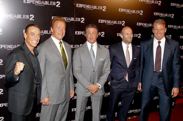 Sylvester Stallone and his 'Expendables 2' co-stars on August 9 (KCS / Splash News)